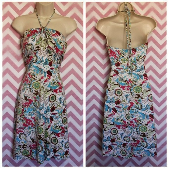 Guess Dresses & Skirts - Guess Colorful Paisley Halter Tie Dress Size M